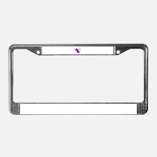 Snowmobile Cat Pink License Plate Frame