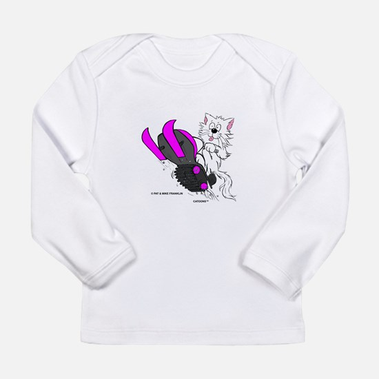 Snowmobile Cat Pink Long Sleeve Infant T-Shirt