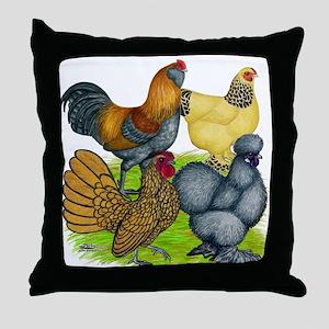 Purebred Bantam Quartet Throw Pillow