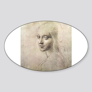 Study of Head of a Girl Sticker (Oval)