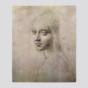 Study of Head of a Girl Throw Blanket