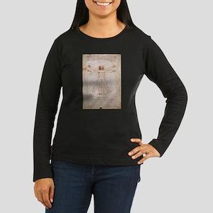 Vitruvian Man Women's Long Sleeve Dark T-Shirt