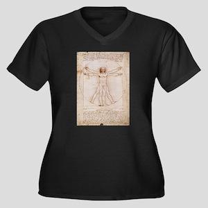 Vitruvian Man Women's Plus Size V-Neck Dark T-Shir