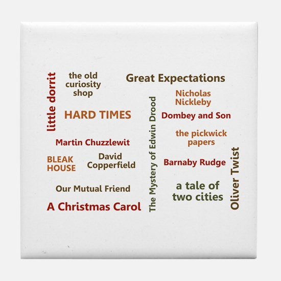 The Novels of Charles Dickens Tile Coaster