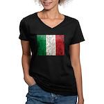 Italy Flag Women's V-Neck Dark T-Shirt
