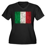 Italy Flag Women's Plus Size V-Neck Dark T-Shirt