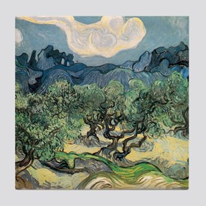 Olive Trees with the Alpilles Tile Coaster