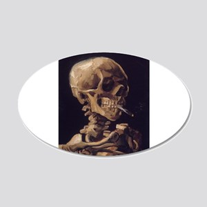 Skull with a Burning Cigarett 22x14 Oval Wall Peel