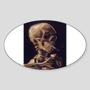 Skull with a Burning Cigarett Sticker (Oval)
