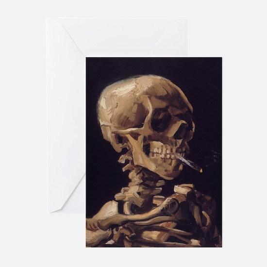 Skull with a Burning Cigarett Greeting Cards (Pk o