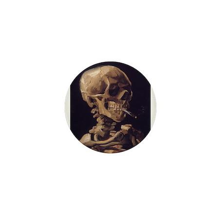 Skull with a Burning Cigarett Mini Button (100 pac