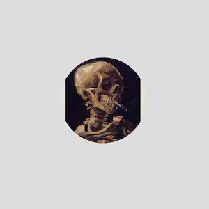 Skull with a Burning Cigarett Mini Button