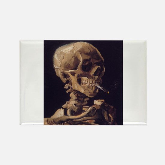 Skull with a Burning Cigarett Rectangle Magnet