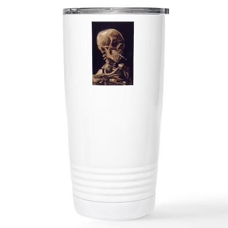 Skull with a Burning Cigarett Stainless Steel Trav