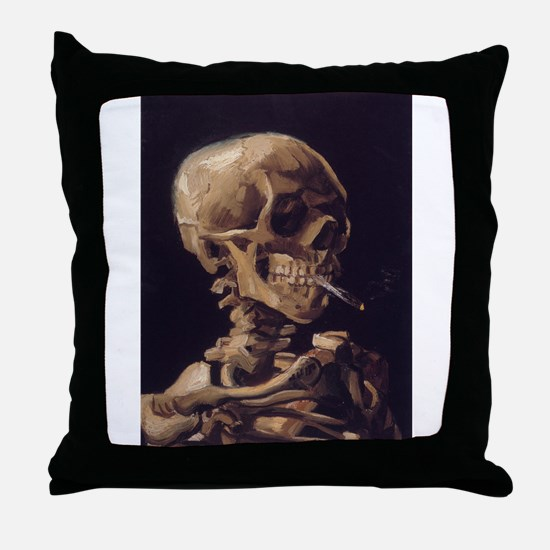 Skull with a Burning Cigarett Throw Pillow