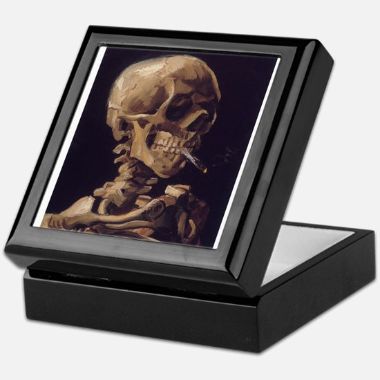 Skull with a Burning Cigarett Keepsake Box