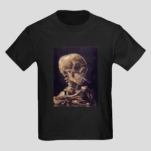 Skull with a Burning Cigarett Kids Dark T-Shirt