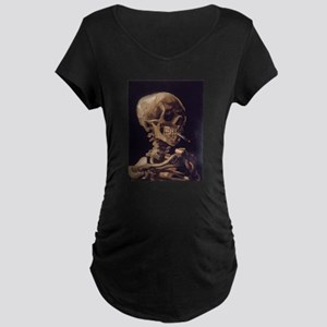 Skull with a Burning Cigarett Maternity Dark T-Shi