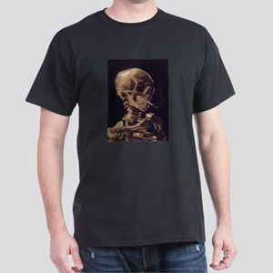 Skull with a Burning Cigarett Dark T-Shirt