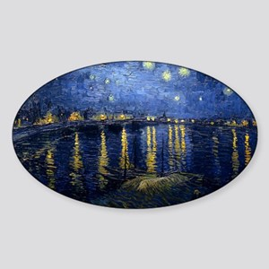 Starry Night Over the Rhone Sticker (Oval)