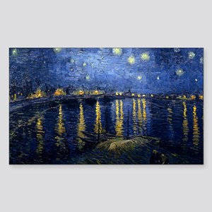 Starry Night Over the Rhone Sticker (Rectangle)