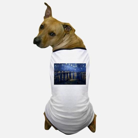 Starry Night Over the Rhone Dog T-Shirt