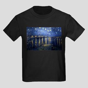 Starry Night Over the Rhone Kids Dark T-Shirt