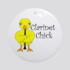 Clarinet Chick Text Ornament (Round)