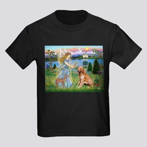 Garden Angel / Golden Sticker Kids Dark T-Shirt