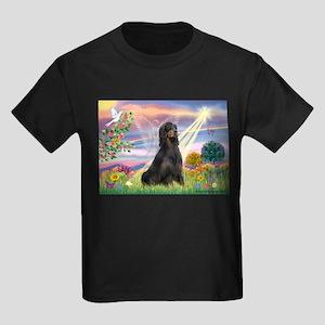 Cloud Angel & Gordon Setter Kids Dark T-Shirt