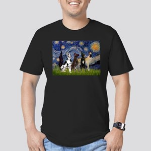 Starry Night / 4 Great Danes Men's Fitted T-Shirt