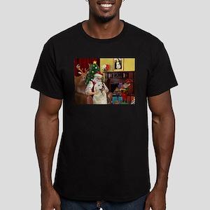 Santa's Great Pyrenees Men's Fitted T-Shirt (dark)