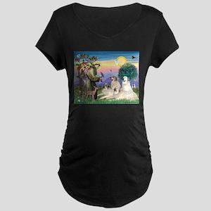 St Francis & Great Pryenees Maternity Dark T-Shirt