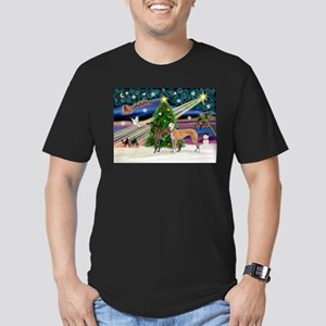 XmasMagic/2Greyhounds Men's Fitted T-Shirt (dark)