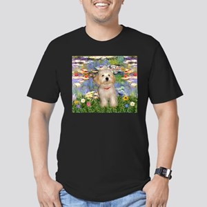 Lilies & Havanese Pup Men's Fitted T-Shirt (dark)