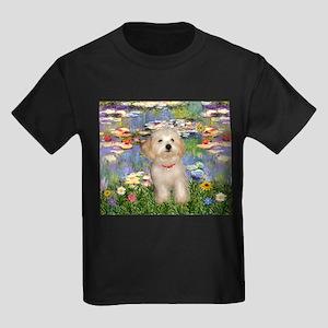 Lilies & Havanese Pup Kids Dark T-Shirt