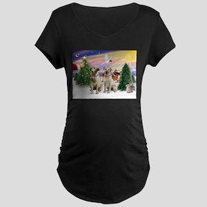 Treat for 2 Yellow Labs Maternity Dark T-Shirt