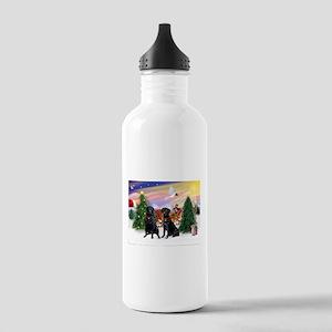 Santa's Treat & Blk Lab Stainless Water Bottle 1.0