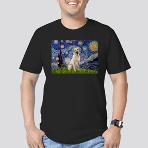 Starry Night Yellow Lab Men's Fitted T-Shirt (dark