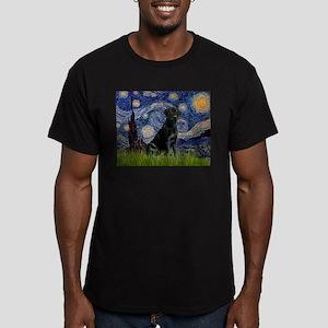 Starry Night Black Lab Men's Fitted T-Shirt (dark)