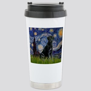 Starry Night Black Lab Stainless Steel Travel Mug