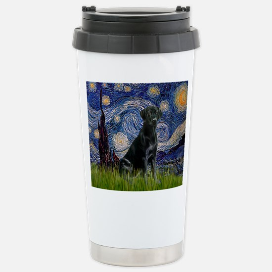 Starry Night Black Lab Stainless Steel Travel Mug