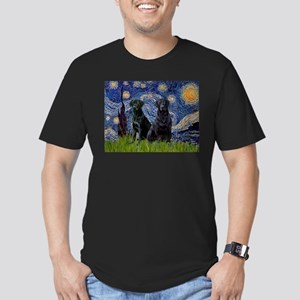Starry Night / 2 Black Labs Men's Fitted T-Shirt (