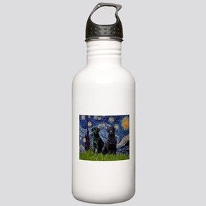 Starry Night / 2 Black Labs Stainless Water Bottle