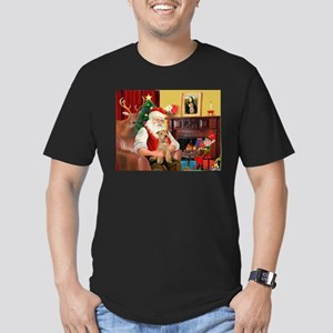 Santa/Lakeland Terrier Men's Fitted T-Shirt (dark)