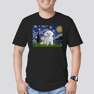 Starry Night / Maltese (R) Men's Fitted T-Shirt (d