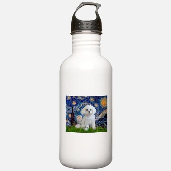 Starry Night / Maltese (R) Water Bottle