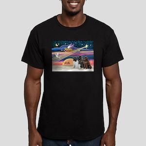 Xmas Star & Newfie trio Men's Fitted T-Shirt (dark