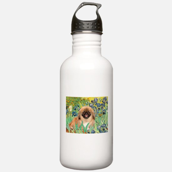 Irises / Pekginese (#1) Water Bottle