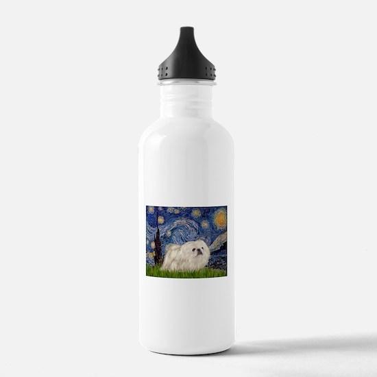 Starry Night white Peke Water Bottle